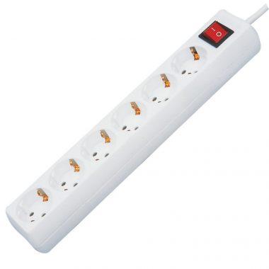 GAO 0012365100 Asztali elosztó 6-os kapcsolóval, 5m, 3x1.5, fehér