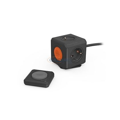 ALLOCACOC távvezérelhető elosztó kocka szett, 4x2P+F, 16A, 250V, 1,5m H05VV-F 3x1,5mm2, fekete