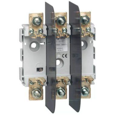 LEGRAND 019943 késes aljzat 000/00 3P 100A M8 kalapsínre is rözíthető