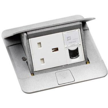 LEGRAND 054010 Pop-up felnyíló süllyesztett padlódoboz 3 modul, alumínium, üres