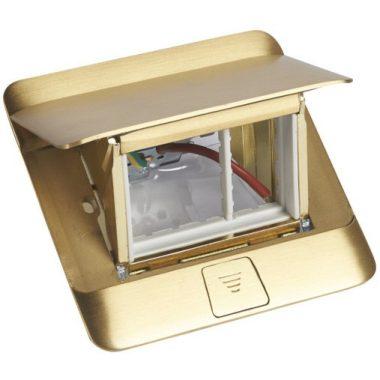 LEGRAND 054015 Pop-up felnyíló süllyesztett padlódoboz 3 modul, sárgaréz, üres