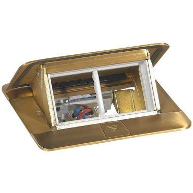 LEGRAND 054016 Pop-up felnyíló süllyesztett padlódoboz 4 modul, sárgaréz, üres