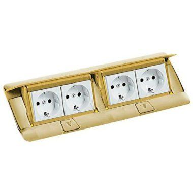LEGRAND 054018 Pop-up felnyíló süllyesztett padlódoboz 8 (2×4) modul, sárgaréz, üres