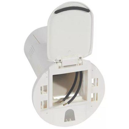 LEGRAND 054072 Üres asztali kábelrendező 2P+F csatlakozóaljzathoz és USB telefontöltő aljzathoz, RAL 9003 fehér