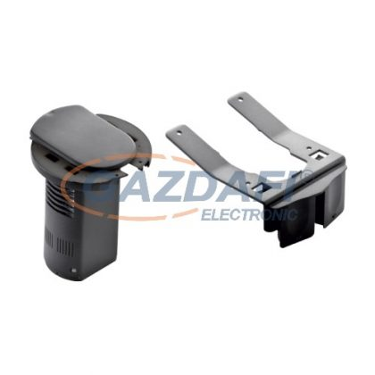 LEGRAND 054073 Üres asztali kábelrendező 2P+F csatlakozóaljzathoz és USB telefontöltő aljzathoz, RAL 9017 fekete
