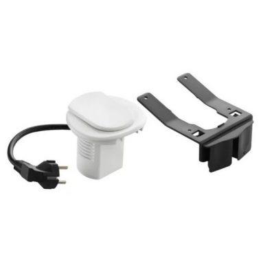 LEGRAND 054080 Összeszerelt asztali kábelrendező 2P+F csatlakozóaljzattal, RAL 9003 fehér keret és mechanizmus, 1x2P+F csatlakozóaljzat fedéllel, 2 m tápkábel 2P+F dugóval