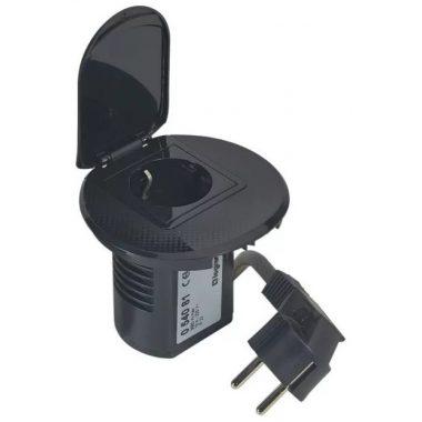 LEGRAND 054081 Összeszerelt asztali kábelrendező 2P+F csatlakozóaljzattal, fekete keret és mechanizmus, 1x2P+F csatlakozóaljzat fedéllel, 2 m tápkábel 2P+F dugóval