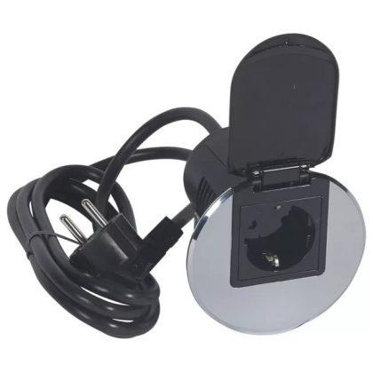 LEGRAND 054082 Összeszerelt asztali kábelrendező 2P+F csatlakozóaljzattal, rozsdamentes acélkeret és fekete mechanizmus, 1x2P+F csatlakozóaljzat fedéllel, 2 m tápkábel 2P+F dugóval