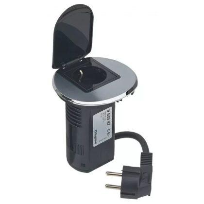 LEGRAND 054087 Összeszerelt asztali kábelrendező 2P+F csatlakozóaljzattal és USB telefontöltővel, rozsdamentes acélkeret és fekete mechanizmus 1x2P+F csatlakozóaljzat burkolattal, 1x USB , 2 m tápkábellel 2P+F csatlakozódugóval