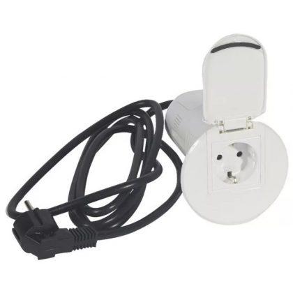 LEGRAND 054088 Összeszerelt asztali kábelrendező 2P+F csatlakozóaljzattal, USB telefontöltővel, 1xRJ45 Cat6 UTP aljzattal, fehér keret és mechanizmus