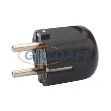 LEGRAND 054366 2P+F csatlakozódugó, műanyag, oldalsó bekötésű, fekete
