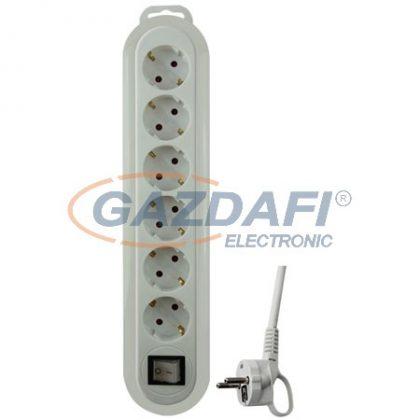 GAO 0556H Asztali elosztó 6-os kapcsolóval, 1,4m, Meridian, fehér/fehér