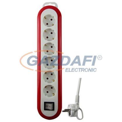 GAO 0559H Asztali elosztó 6-os kapcsolóval, 1,4m, Meridian, fehér/piros