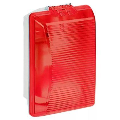 LEGRAND 062402 Plexo szögletes hajólámpa E27, 75W, IP55 piros bura