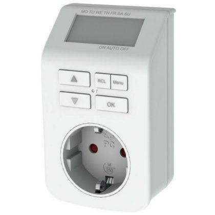 GAO 0743H digitális heti időkapcsoló, max. 98 ki-be kapcsolás/hét, visszaszámlálás és véletlenszerű kapcsolás, 3680W, fehér, 230V