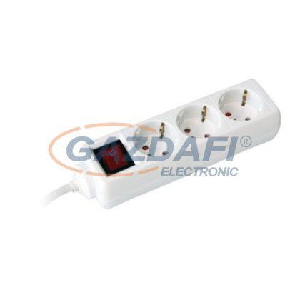 COMMEL 0816 elosztó kapcsolóval, 3 dugaljas, 3m, 16A 250V~3500W, H05VV-F 3x1.5