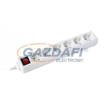 COMMEL 0838 elosztó kapcsolóval, 6 dugaljas, 1.5m, 16A 250V~3500W, H05VV-F 3x1