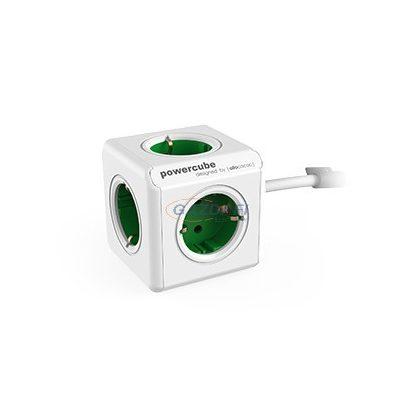 ALLOCACOC hosszabbító földelt csatlakozókkal, rögzítő talppal, 5x2P+F, 1,5m H05VV-F 3x1mm2, 16A, 250V, zöld