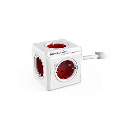 ALLOCACOC hosszabbító földelt csatlakozókkal, rögzítő talppal, 4x2P+F, 2xUSB, 1,5m H05VV-F 3x1mm2, 16A, 250V, piros