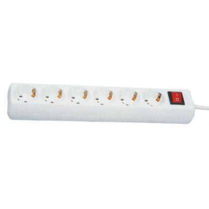 GAO 12360 Asztali elosztó 6-os kapcsolóval, 1,4m, 3x1.5, fehér