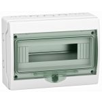 SCHNEIDER 13444 KAEDRA Mini elosztó, átlátszó ajtó, falon kívüli, 1x12 modul, szürke