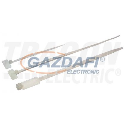 TRACON 190J Jelzőcímkés kábelkötegelő, natúr 190×3,6mm, D=10-48mm, PA6.6, (a×b=27×13mm)