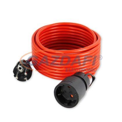 COMMEL 220-110 tápkábel dugóval és foglalattal, 10m, 250V~2200W, H05VV-F 3x1, piros