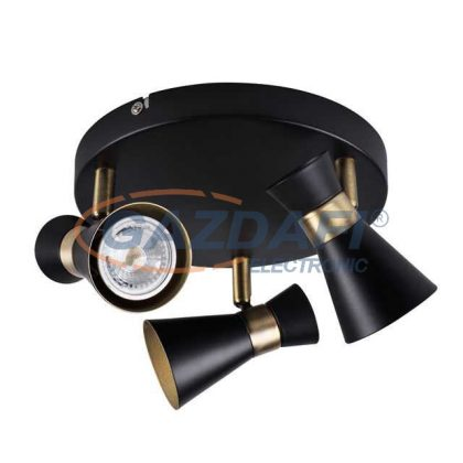 KANLUX 29112 MILENO EL-3O B-AG Fali/mennyezeti lámpa, 35W, GU10, IP20, fekete/arany