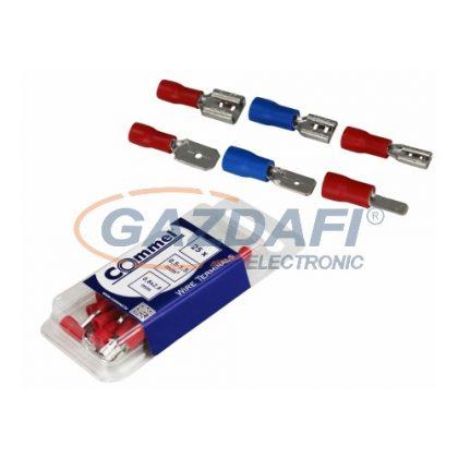 COMMEL 365-832 Szigetelt vezetékösszekötő - csap+hüvely0,8x4,75mm / 0,5-1,5mm2 - piros (10-10 db)