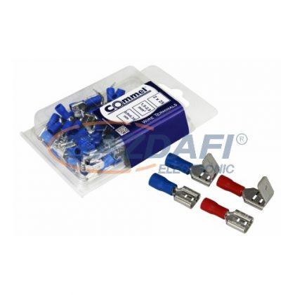 COMMEL 365-841 Szigetelt rátolható csap és csatlakozó hüvely 0,5-1,5mm2 0,8x6,35mm piros