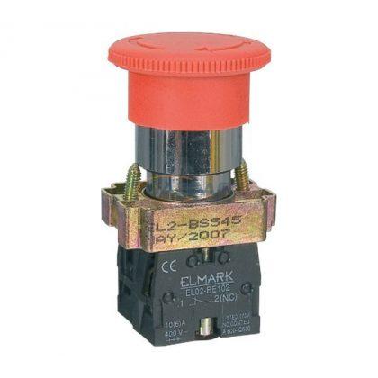 ELMARK reteszelt vészgomb, EL2-BS / 6A / 1NC+1NO / 400V, piros
