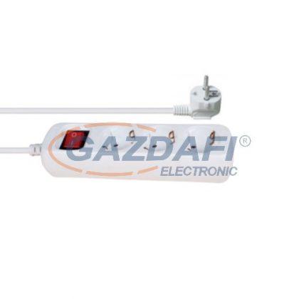ELMARK 3-as hálózati elosztó kapcsolóval, H05VV-F, 3x1.0mm², 1.5m