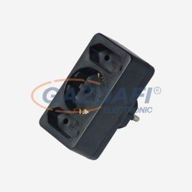 COMMEL 49112-2 T elosztó EURO csatlakozókkal, 3-as, 250V, 2.5A/16A, fekete
