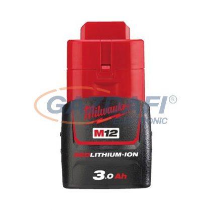 MILWAUKEE M12 B3 REDLITHIUM-ION akkumulátor, M12 rendszerhez 12 VDC, 3,0 Ah