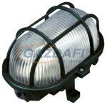 COMMEL 56111 Műanyag rácsos ovál hajólámpa, fekete, E27, 60W, IP44