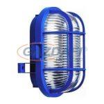 COMMEL 56120 műanyag rácsos ovál hajólámpa, kék, E27, 60W, IP44