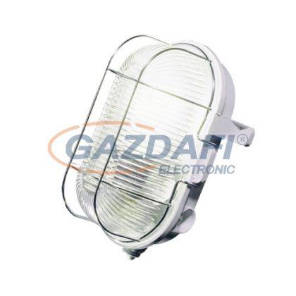 COMMEL 56200 műanyag, fémrácsos ovál hajólámpa, szürke, E27, 60W, IP44