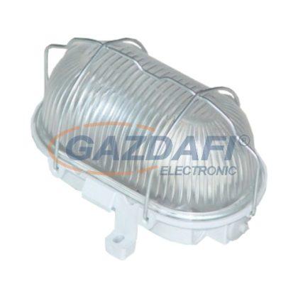 COMMEL 56300 műanyag, fémrácsos ovál hajólámpa, szürke, E27, 100W, IP44