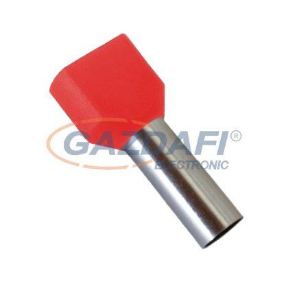 ELMARK szigetelt dupla érvéghüvely, piros, 2x1mm2, 8mm, TE1008, 100db/csomag