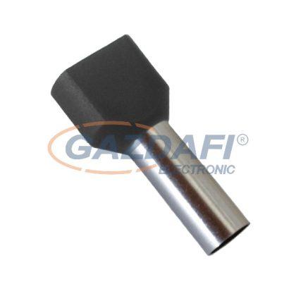 ELMARK szigetelt dupla érvéghüvely, fekete, 2x1.5mm2, 8mm, TE1508, 100db/csomag