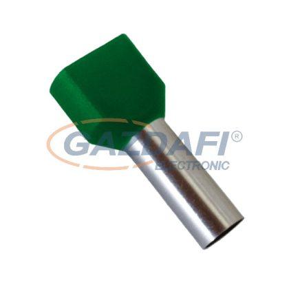 ELMARK szigetelt dupla érvéghüvely, sötétzöld, 2x10mm2, 14mm, TE10-14, 100db/csomag