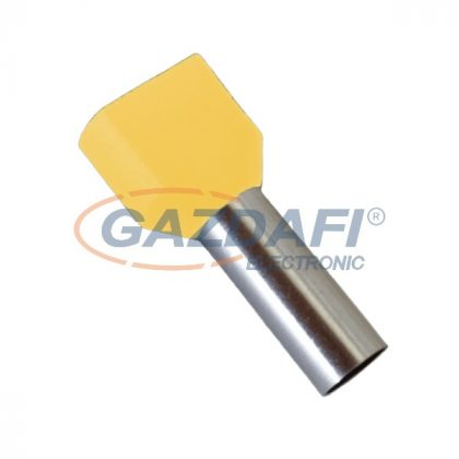 ELMARK szigetelt dupla érvéghüvely, tejes-sárga, 2x16mm2, 14mm, TE16-14, 100db/csomag