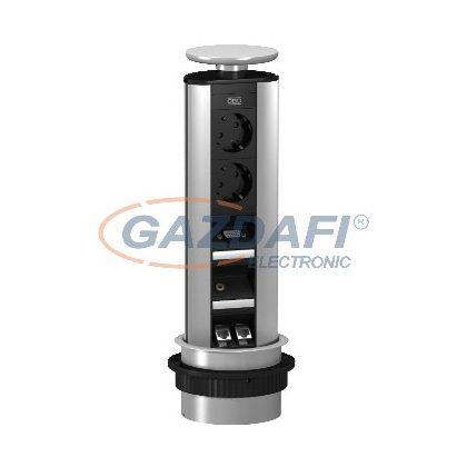 OBO 6116886 DBV-MA3A D3S2K Deskbox, Lesüllyeszthető asztallapba szerelhető eloxált alumínium
