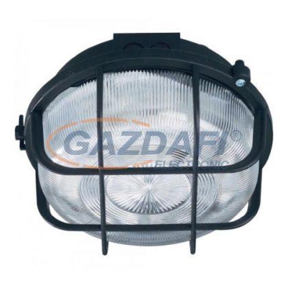 COMMEL 66001 műanyag rácsos kerek hajólámpa, fekete, E27, 100W, IP44