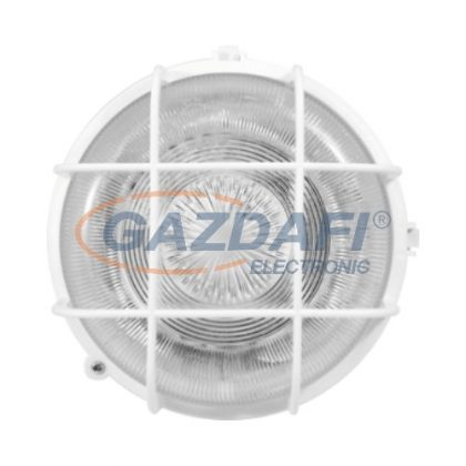 COMMEL 66002 műanyag rácsos kerek hajólámpa, fehér, E27, 100W, IP44