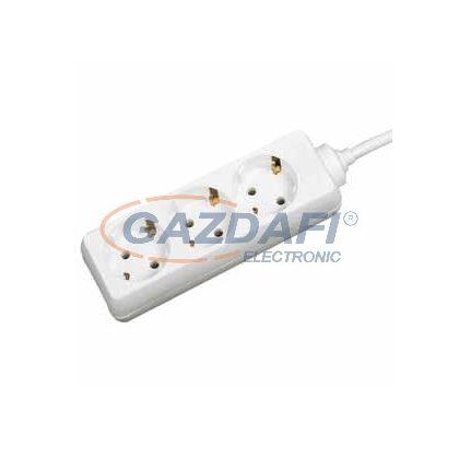 GAO 6610H 3-as elosztó, 5m H05VV-F 3x1,0mm2 kábellel, fehér, 230V, 10A, 2300W