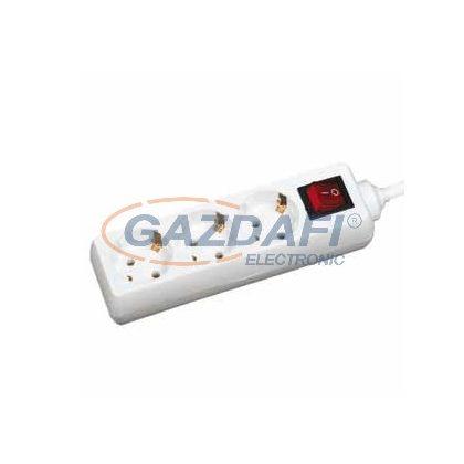 GAO 3-as elosztó, kapcsolóval, 3m H05VV-F 3x1,0mm2 kábellel, fehér, 230V, 10A, max. 2300W