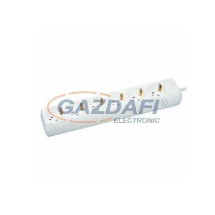 GAO 6615H 6-os elosztó, 3m H05VV-F 3x1,0mm2 kábellel, fehér, 230V, 10A, 2300W
