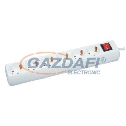 GAO 6618H 6-os elosztó, kapcsolóval, 3m H05VV-F 3x1,0mm2 kábellel, fehér, 230V, 10A, max .: 2300W