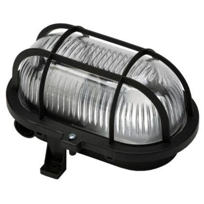 GAO 6914H Hajólámpa, ovális, műanyagráccsal 60W, fekete